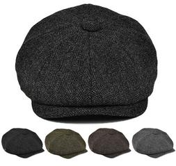 Classic Men's Herringbone Newsboy Hat Wool Applejack Gatsby