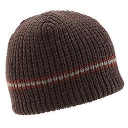 Icebox Knitting Classic Stripe Winter Hat, Medium/Large, Bro