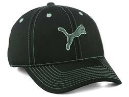 Puma Contrast Stretch Fit Cap Hat Lid Black Leaping Cat Logo