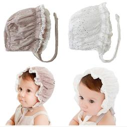 Cotton Baby Girl Caps white Lace Bonnet Sleep Caps Lace up K