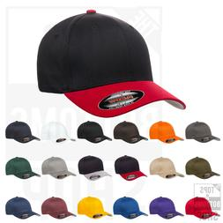 Flexfit Cotton Blend Fitted Baseball Cap Structured Hat Mid