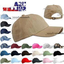 Washed Cotton Baseball Cap Hat Polo Style Adjustable Solid P