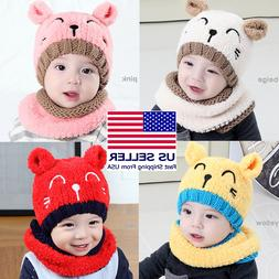 Cute Baby Toddler Girls Boys Warm Hat Winter Beanie Hooded S