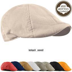Duckbill Solid Cotton Gatsby Cap Mens Ivy Hat Golf Driving S
