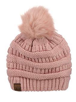 NYFASHION101 Exclusive Soft Stretch Cable Knit Faux Fur Pom