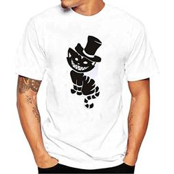 Fashion Boys Mens T-Shirt Funnt Cat With Hat Printing Tees C