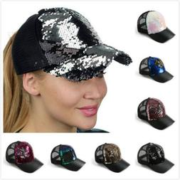 Fashion Women Ponytail Baseball Cap Sequins Shiny Sun caps M