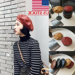 Fashion Women's Ladies Leather Beret Hat Fashion French Caps