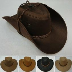 Faux Suede Cowboy Hat w/ Rope Tan Brown Black Western Hats A