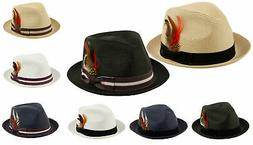 Fedora Hat w/ Band and Removable Feather Summer Cool Hat Cur