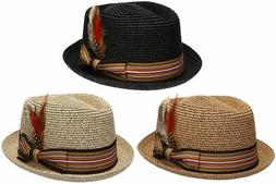Fedora Pork Pie Straw Hat w/ Striped Band and Removable Feat