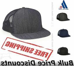 Mega Cap Flat Bill Mesh Six-Panel Trucker Cap Hat Snapback 6