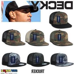 DECKY FLAT Bill Trucker Hat 6 Panel Mesh Hip Hop Camo Snapba