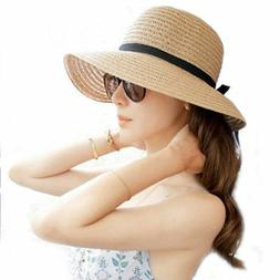 Floppy Foldable Ladies Women Straw Beach Sun Summer Hat Beig