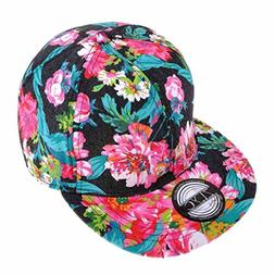 ZLYC Women Fashion Floral Print Adjustable Casual Snapback B