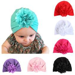 Flower Turban Hat For Newborn Baby Girls IBoys nfant Elastic