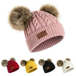 Girls Boys Faux Fur Ball Beanie Baby Toddler Knit Cap Warm H