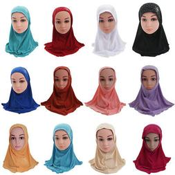 Girls Kids Muslim Hijab Hats Islamic Arab Scarf Caps Shawls