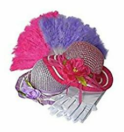 Girls Tea Party Dress Up Play Set For 2 with Sun Hats Gloves