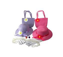 Girls Tea Party Dressup SET for 2 Hats Purses Pink Purple Gl