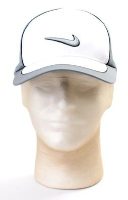 Nike Golf Gray & White Dri Fit Stretch Fit Golf Cap Hat Men'