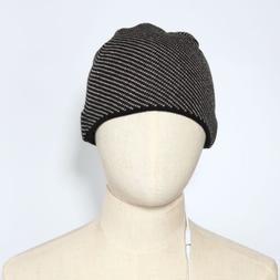 Grey Black or Black White Stripes MP3 Beanie Hat for Fall &