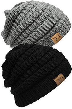 H-6020a-2-0651 Solid Beanie Bundle - Black & Heather Grey