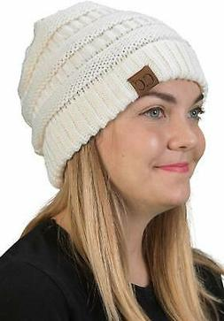 H-6020a-25 Solid Ribbed Beanie - Ivory, Ivory, Size One Size
