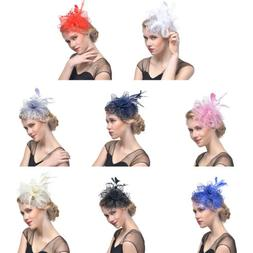 Handmade Large Women Feather Floral Hair Fascinator Hat Head