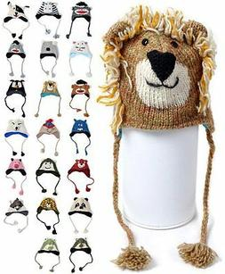 'Hat-imals' Hand-Knit 100% Wool Animal Winter Hats for Kids