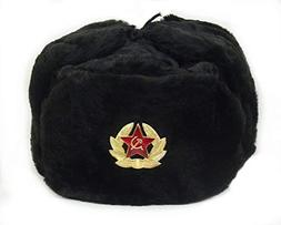 Hat Russian Soviet Army Black KGB Fur Military Cossack Ushan