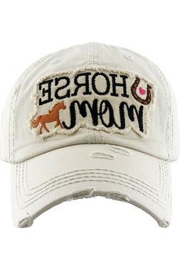 KBETHOS Horse Mom Washed Ladies Vintage Distressed Stitch Ba