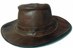 Indian Pure Original Real Goat Leather Cow Boy Hat Brown Col