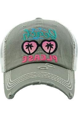 Jinscloset KBETHOS Embroidered Beach Please Vintage Distress