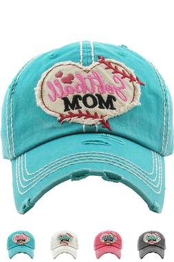 Jinscloset KBETHOS Embroidered Softball Mom Distressed Baseb