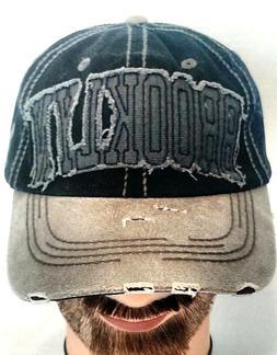 KBETHOS Men's Brooklyn Baseball Distress Hat BK Gray/Black C