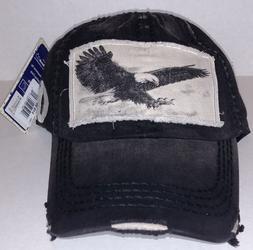 KBETHOS Vintage Distressed EAGLE Baseball Cap Hat, Black NWT