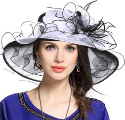 Kentucky Derby Hat Wide Brim Flounce Cocktail Tea Party Brid