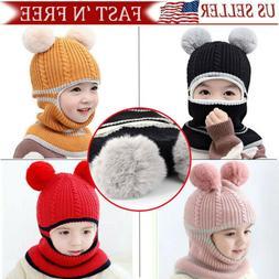 Kid Winter Hats Cozy Knitted Scarf Earflap Beanie Fleece Cap