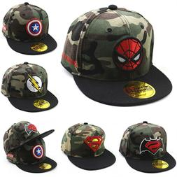 Kids Superhero Baseball Caps Boys Girls Adjustable Snapback