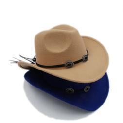 Kids Child Boys Girls Panama Hats Cowboy Western Caps Wide B