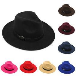 Kids Children Boys Girls Wool Panama Hats Wide Brim Caps Som