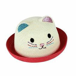 Kitty Baby Girls Fashion Straw Hats for Children Summer Beac