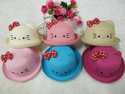 Kitty Girls Fashion Straw Hats for Children Summer Beach Sun