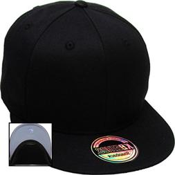 KNW 1467 BLK Cotton Snapback Solid Blank Cap Baseball Hat Fl
