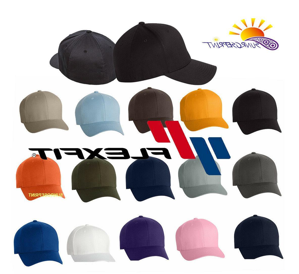 12 Classic Flexfit Blank Baseball Cap6277 Hat Wholesale Bulk