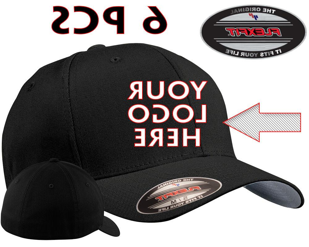 6 Custom Logo Embroidered # 5001 Flexfit Fitted Baseball Hat