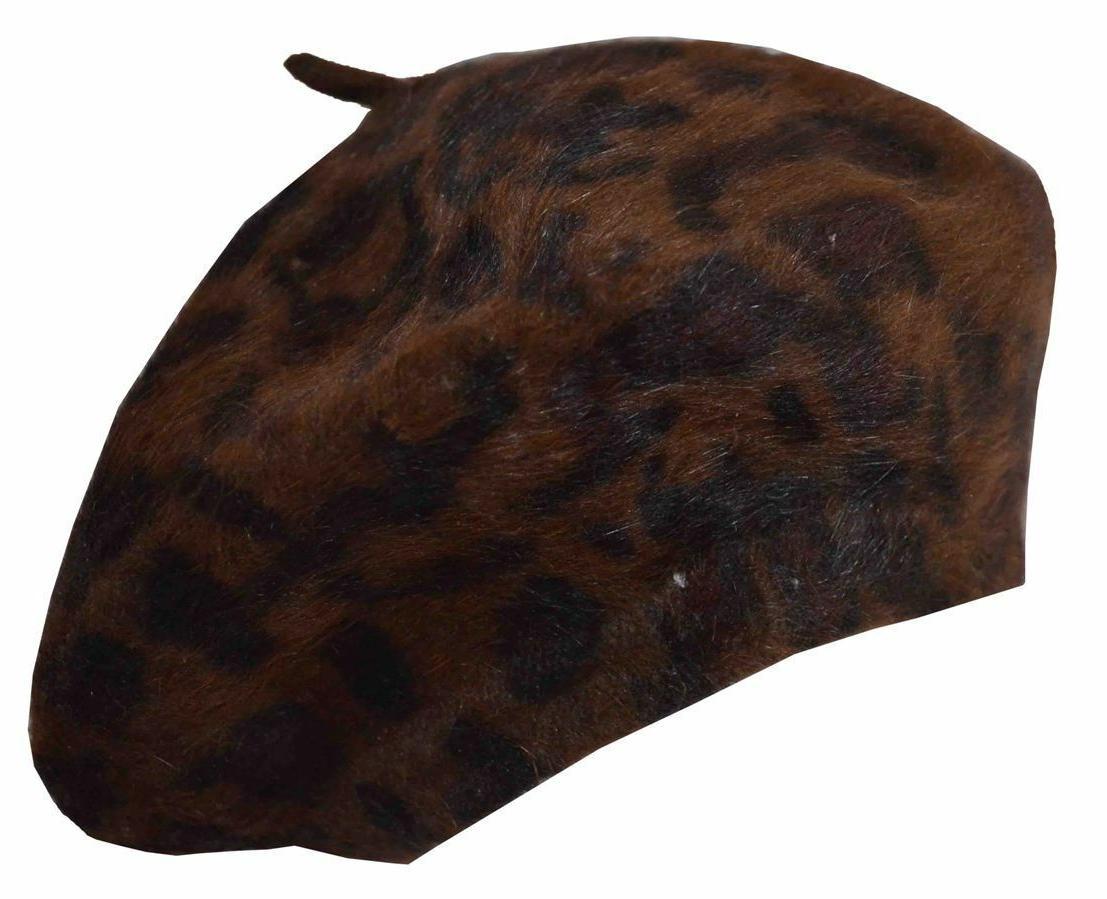 angela and william leopard angora beret cap