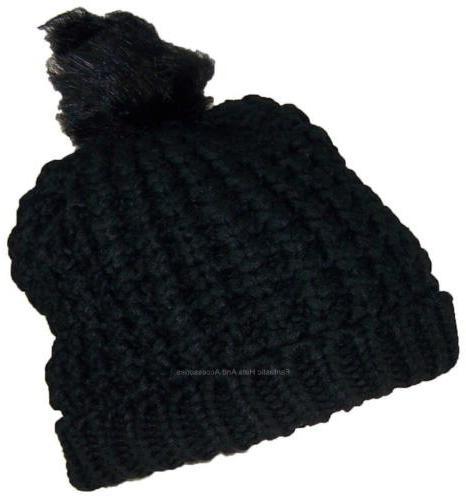 Angela & William Womens Rib Knit W/Soft Lining & Faux Fur Po