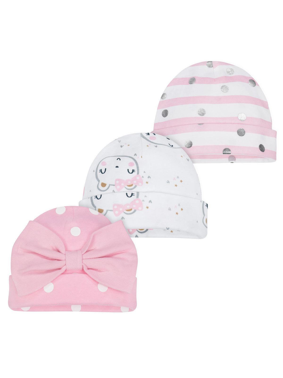 Gerber Baby Girls 3 Pack Organic Caps NEW Sizes Newborn, 0-6